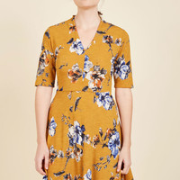 Warranted Wanderlust Floral Dress in Goldenrod in L