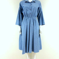American Shirt Dress Three Quarter Sleeve Denim Any Occasion Dress 1980 Jean Dress Large Vintage Dress Light Blue Elastic Waist Full Skirt