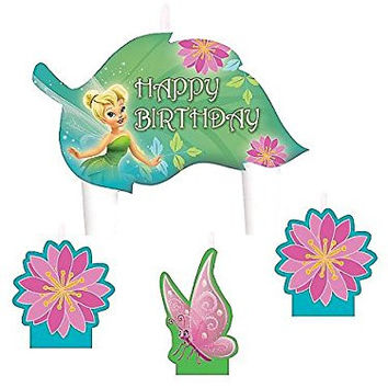 "Party Time Disney Tinkerbell Molded Mini Character Birthday Candle Set, Pack of 4, Green , 1.25"" Wax"