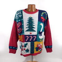 Ugly Christmas Sweater Vintage 1980s Goose Tacky Holiday Women's size L