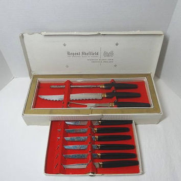 1960s Vintage 9 Piece Carving Cutlery Set with Box, Regent Sheffield England, Fork, Knife, Sharpener, 6 Steak Knives, Vintage Utensils