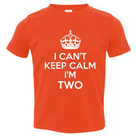 I Can't Keep Calm I'm TWO Second Birthday Printed Graphic Tee For Toddlers Many Colors To Choose From 2nd Birthday tee