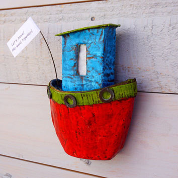Personalized Artwork, Boat Wall Hanging, Wall Art, Paper Mache Boat, Paper Sculpture, Recycled Paper, Unique Art Gift, Boating Gifts