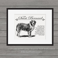 Saint Bernard Storybook Style Canvas Print: Dog, Wall Art, Rustic, Vintage, Antique, Decor, Artwork, DIY, Breed, Breeds, Gift
