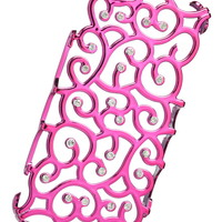 Pink Scroll With Rhinestones Decorative Phone Case - Pink