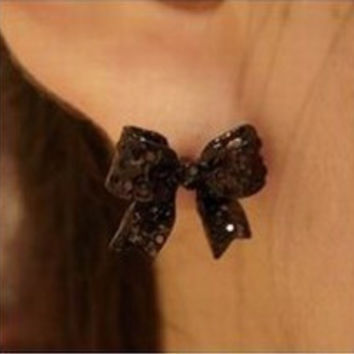 Free Shipping $10 (mix order) New Fashion Vintage Western Simple Black Butterfly Bow Earrings R2113 Jewelry