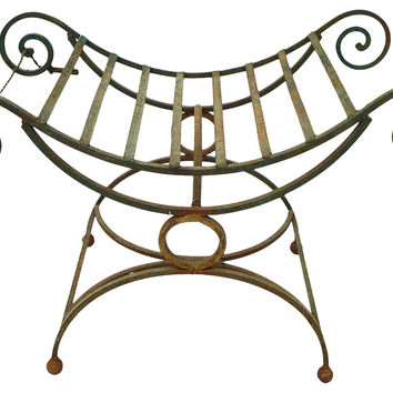 French-Style  Forged Garden Bench
