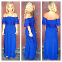 Royal Blue Eyelet Double Slit Maxi Dress