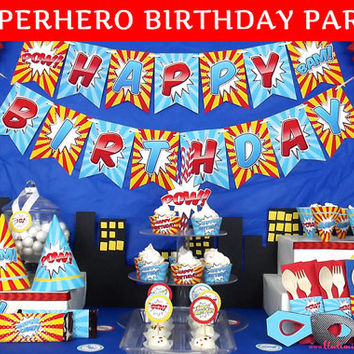 PRINTED Superhero Birthday Party Decorations - Superhero Party