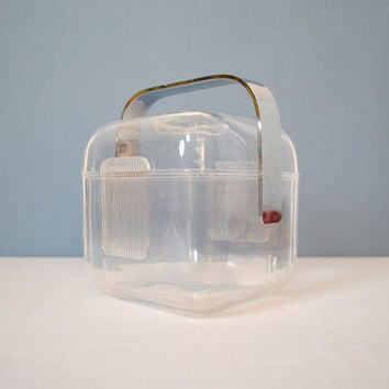 Retro Guzzini Clear Lucite Ice Bucket - 1970s Italian Design