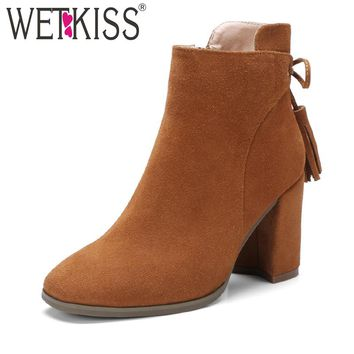 WETKISS Genuine Leather Suede Ankle Boots Tassel Shoes Women Designers Zip Women's Winter Boots Autumn Square High Heels Shoes