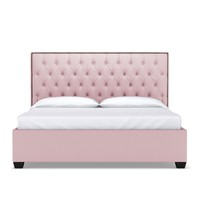 Huntley Drive Upholstered Bed QUEEN in BLUSH VELVET - CLEARANCE