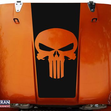 Punisher Hood Blackout Vinyl Decal fits Jeep CJ5 CJ7 CJ8 Scrambler