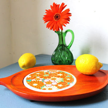 Orange Wood and Tile CITRUS serving tray Vintage by BootsNGus