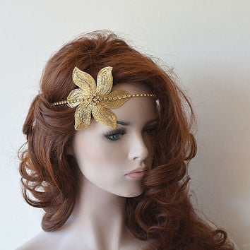 Gold Flower Hair Accessories, Wedding Halo, Bridal Rhinestone Headband, Bridal Accessories, Wedding Hair Accessories