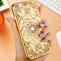 Cell Phone cases Accessories High quality Diamond Skin covers for iphone 6 6s 6 plus 6s plus with electroplating soft back cover