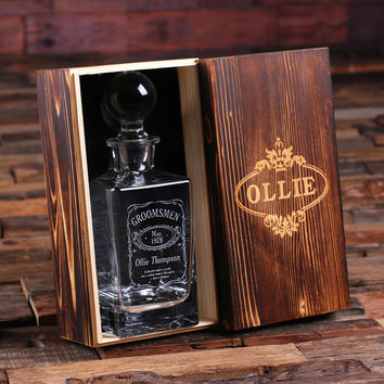 Personalized Whiskey Decanter with Global Bottle Lid and Wood Box – B
