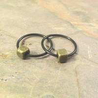 Brass Gold Cube Cartilage Hoop Earring Septum Tragus Nose Ring Upper Ear Piercing 20 Gauge