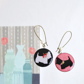 Scottish Terrier Dog Earrings, animal jewelry, scottie dog, gift idea for dog lover