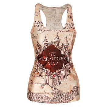 Fashion The Marauder's Map Print New Women T-shirt 3D Printed Women's Clothing Harry Potter Print Tank Top Women Clothing for Lady Girl Women XS/S/M/L/XL [8081669831]