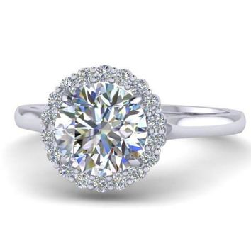 Forever Brilliant Moissanite Halo Diamond Platinum Ring