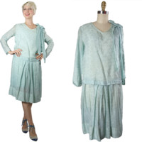 1920s Blue Rayon Day Dress
