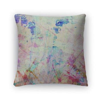 Throw Pillow, Abstract Colorful Painted Watercolor Splash And Stain