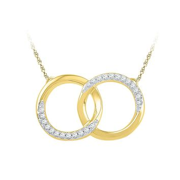 10kt Yellow Gold Womens Round Diamond Circle Pendant Necklace 1/10 Cttw