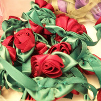 432 Miniature Satin Rosettes Flowers Roses Bows Ribbons Crafting Sewing