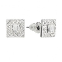 LC Lauren Conrad Silver Tone Simulated Crystal Square Stud Earrings (Clear)