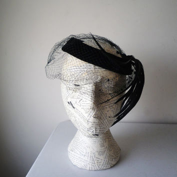Vintage Black Pill Box Fascinator Hat Polka Dot Netting, Vintage Mourning Hat