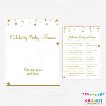 Twinkle Twinkle Little Star Baby Shower, Pink Mint Gold, Celebrity Baby Name Game, Baby Shower Printables , Girl, Instant Download STPMG