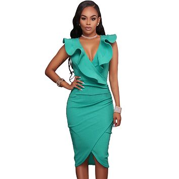 Turquoise Ruffle V Neck Bodycon Midi Dress