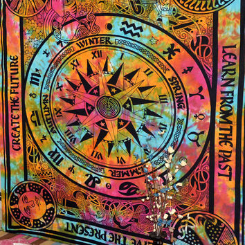 Indian Wall Tapestry Astrology art Zodiac Wall Hanging Hippie Screen Printed Blankets Bed Cover Bedspread Wall Art