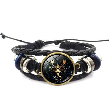 2018 NEW 12 Zodiac Signs Leather Bracelet For Men Women Virgo Libra Scorpio Aries Taurus Bracelets Women Men Jewelry Pulseras