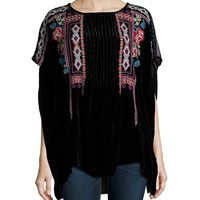 Izzy Embroidered Velvet Poncho, Size: