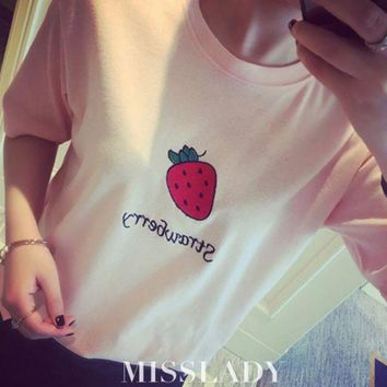 Day-First™ Strawberry Printed T Shirt