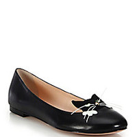 Kate Spade New York - Whiskers Cat-Paneled Leather Flats - Saks Fifth Avenue Mobile