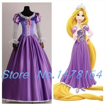 New Adult Rapunzel Fancy Women Dress Cosplay Costume For Women Princess Tangled Purple Outfit Any Size Free shipping