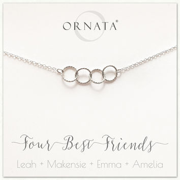 """Four Best Friends"" Sterling Silver Necklace 