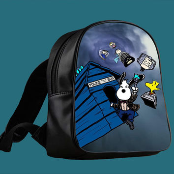 snoopy doctor who 4 for Backpack / Custom Bag / School Bag / Children Bag / Custom School Bag ***