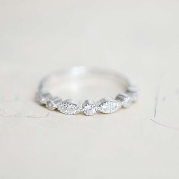 Half Eternity Band  - Promise Ring - Sterling Silver Band - Art Deco Wedding Band - Bead & Eye Ring - Stacking Ring - Milgrain Band