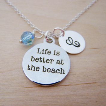 Beach Charm Swarovski Birthstone Initial Personalized Sterling Silver Necklace / Gift for Her - Beach Necklace - Nautical Necklace