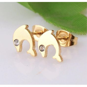 Dolphin Earring Stainless Steel With Crystal
