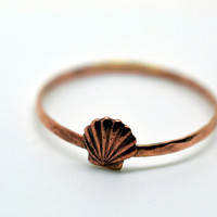 Rose Gold Seashell Ring, 14K Gold Fill Ring, Handforged, Seaside, Shell Jewelry, Seashells