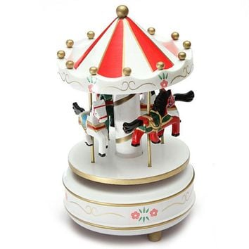 Boutique Best Birthday Gift Musical carousel horse wooden carousel music box toy child baby game girl's gift