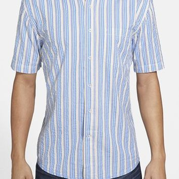 Men's Vintage 1946 Regular Fit Short Sleeve Stripe Seersucker Sport Shirt,