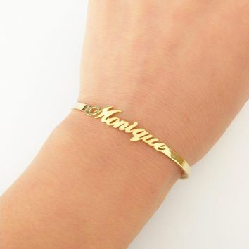 Custom Jewelry Personalized Name Bangle For Women Men Gold-color Signature Bracelets & Bangles Adjustable Armbanden Voor Vrouwen