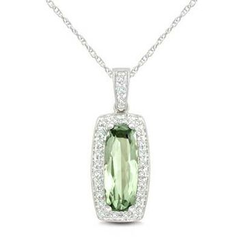 Elongated Cushion-Cut Green Quartz and 1/10 CT. T.W. Diamond Pendant in Sterling Silver - View All Necklaces - Zales