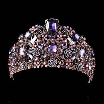 Handmade Luxury Black Baroque Style Bridal Purple Crystal Crown Tiara Headpieces Evening Hair Accessories